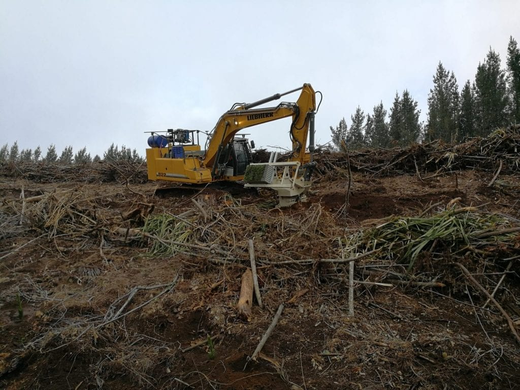 forestry excavators in mechanical planting